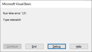 vba runtime error 13
