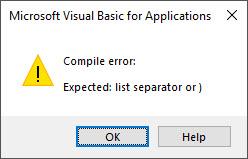 vba syntax compile error