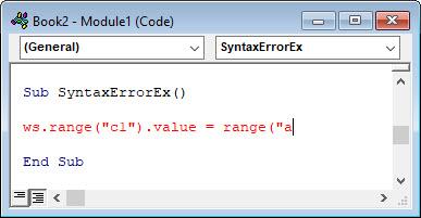 vba syntax error example
