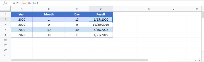 Date Google sheet