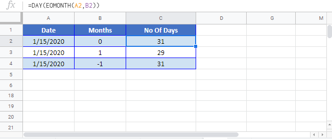 Days in month Google sheet