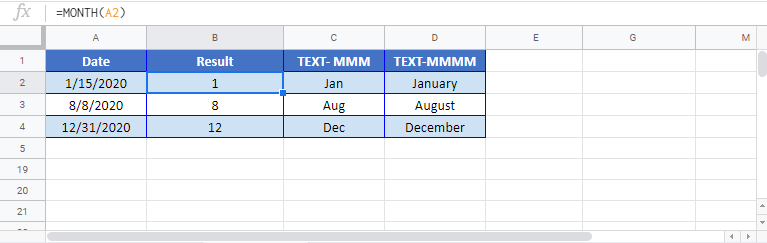 Get month name Google sheet