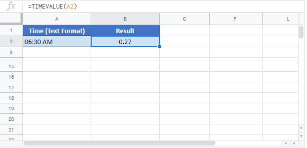 TIMEVALUE Google Sheet