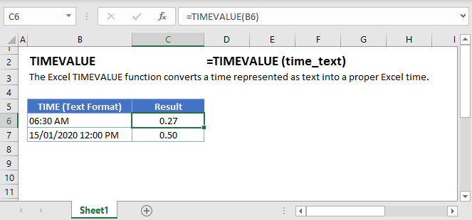 TIMEVALUE Main Function