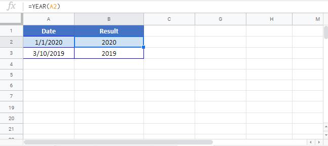 YEAR Google Sheet