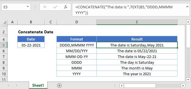 concatenate date main Function
