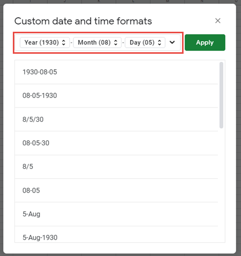 custom date time formats google sheets