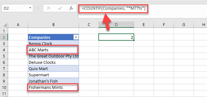 excel countif wildcard example