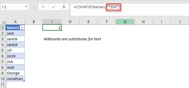 excel countif wildcard