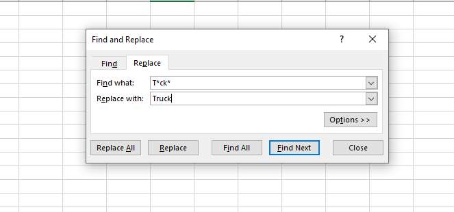 excel wildcard replace with asterisk