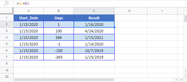 Add Days to Date Google Sheet