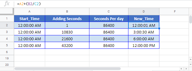 Add-Seconds to Time Google