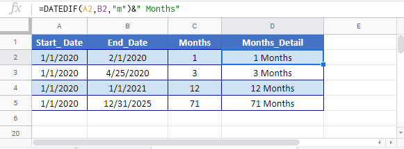 Calculate Number of Months Between Google