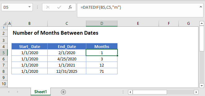 Calculate Number of Months Between Main