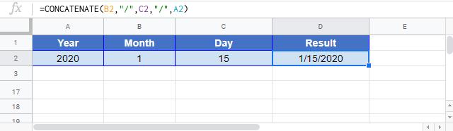Concatenate Date Google