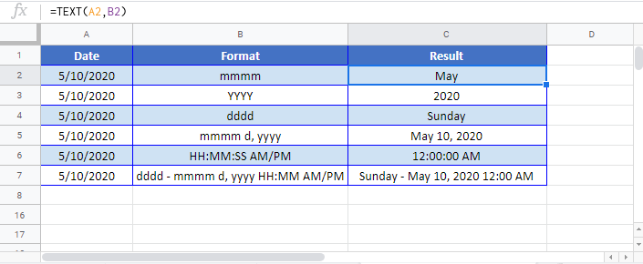 Convert Date to Text Google Sheet