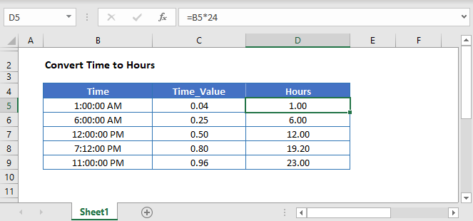 Convert Time to Hours Main