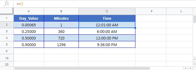 Convert time Minutes Google