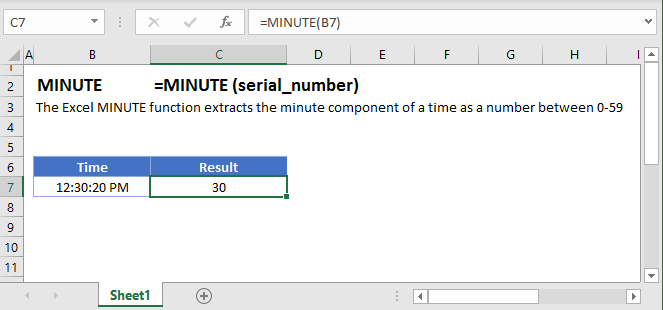 Minute Main Function