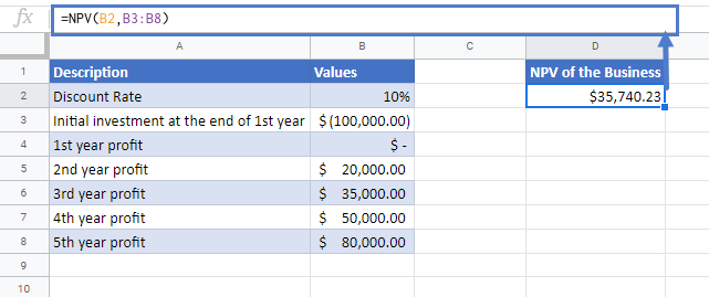 NPV Function Google Sheets