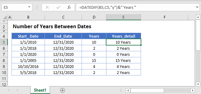 Number of Years Between Dates Main