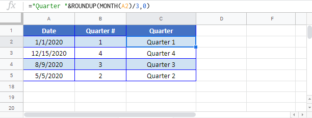 Quarter Google Sheet
