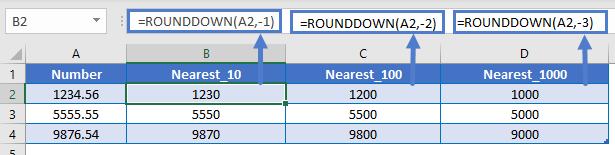 Rounddown 10 100 1000