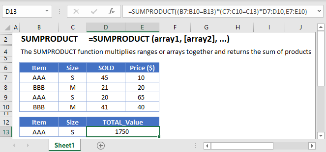 SUMPRODUCT Main Function
