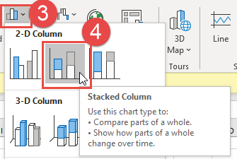 Stacked Column Chart Steps