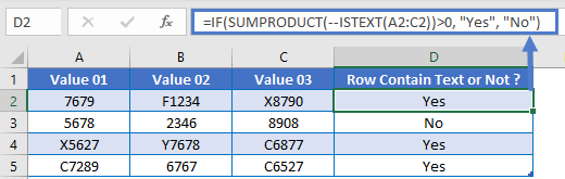 Sumproduct ISTEXT