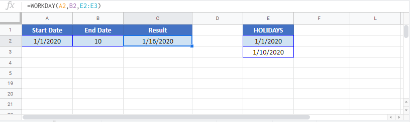 WORKDAY Google Sheet