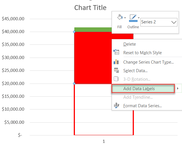 Adding data labels to an Excel chart