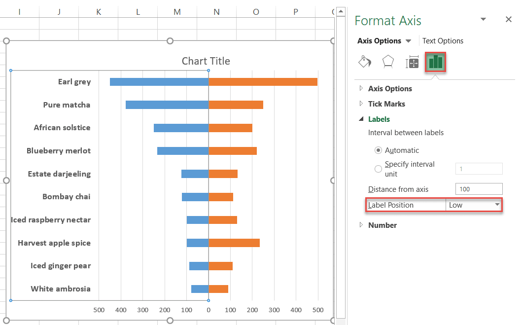 Changing the position of data labels in Excel