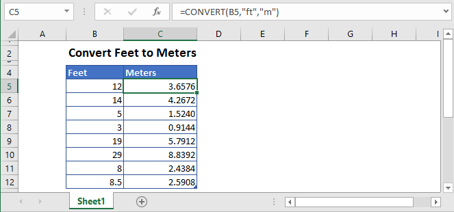 How to convert ft to meters Formula