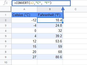 convert c to f google sheets