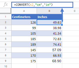 convert cm to inches google sheets