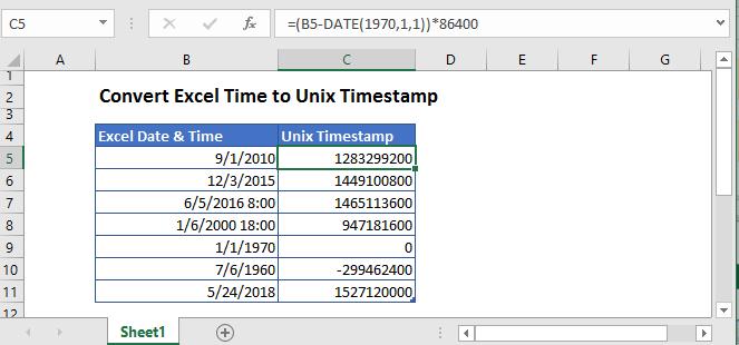 convert date to unix timestamp