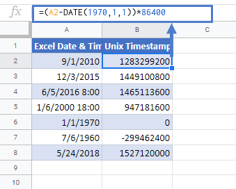 convert exceltime to unix timestamp in google sheets