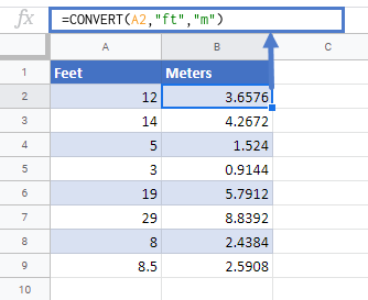 convert ft to meters google sheets