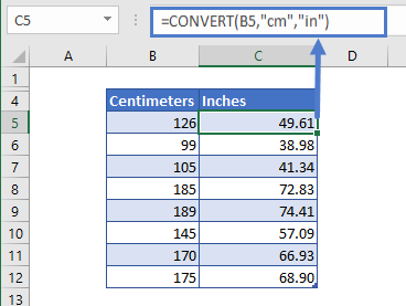 convert function cm to inches