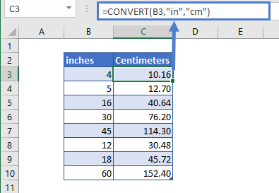convert inches to cm