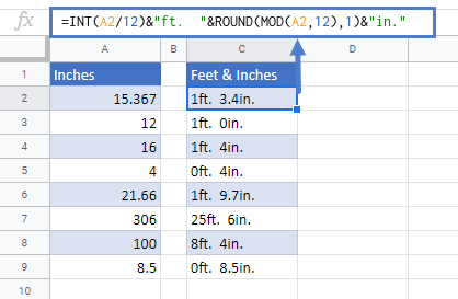 Convert Inches to Feet and Inches in Google Sheets