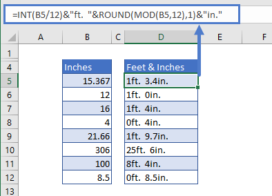 Convert inches to feet and inches with Labels