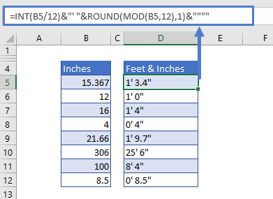 Convert Inches to Feet and Inches with ROUND function