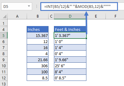 Convert Inches to Feet and Inches using INT and MOD functions