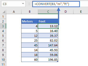 convert meters to ft