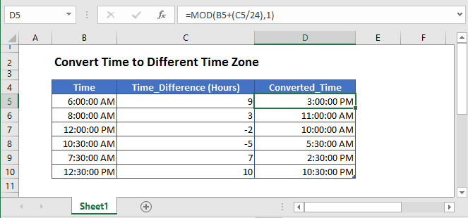 convert time zone to another