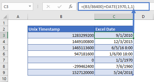 convert unix time to excel date