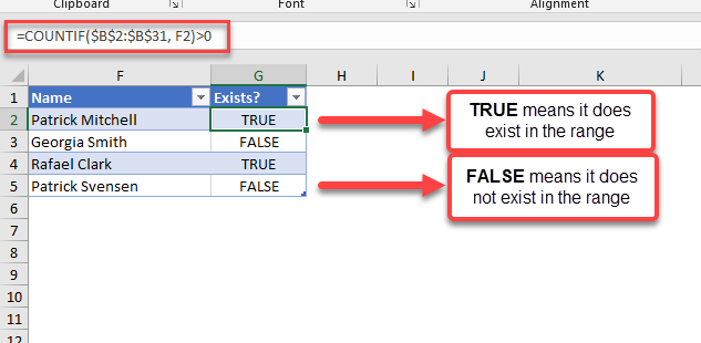 count if value exists in range result