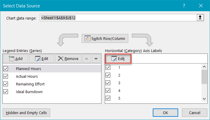 Edit horizontal axis labels in Excel